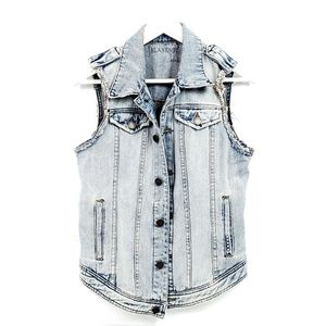 [Blank NYC] Light Wash Distressed Jean Vest Size S